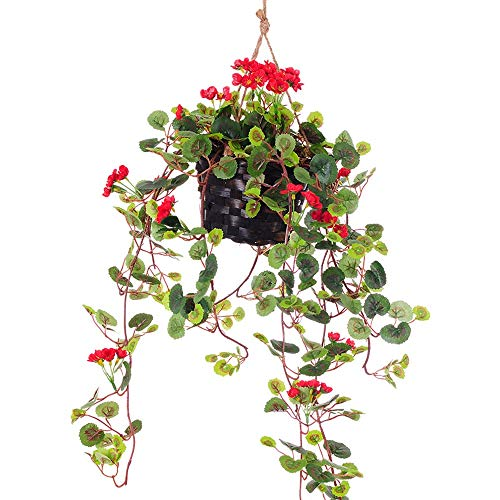 Kunstmatige Ivy Garland Vine plant voor bruiloft Garlandfake bloem kunststof bloem decoratie bloem vine bloem bloem met mand roos wandbehang huis keuken tuin kantoor bruiloft muur decoratie rood