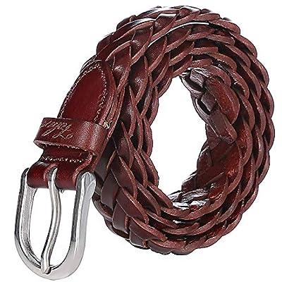 Falari Women's Leather Braided Belt 6007 - Reddish Brown-L