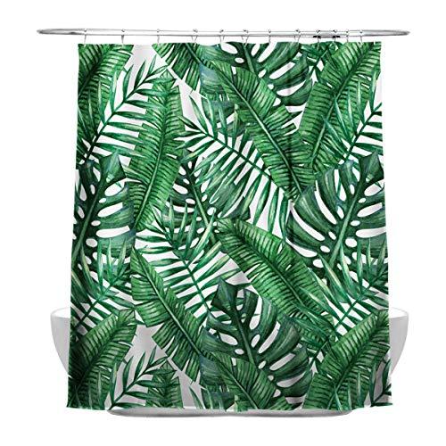 Tropicales Plantas hojas de pl¡§¡étano cuarto de ba?o cortina de ducha , Resistente al agua y al moho, con 12 ganchos de cortina de ducha