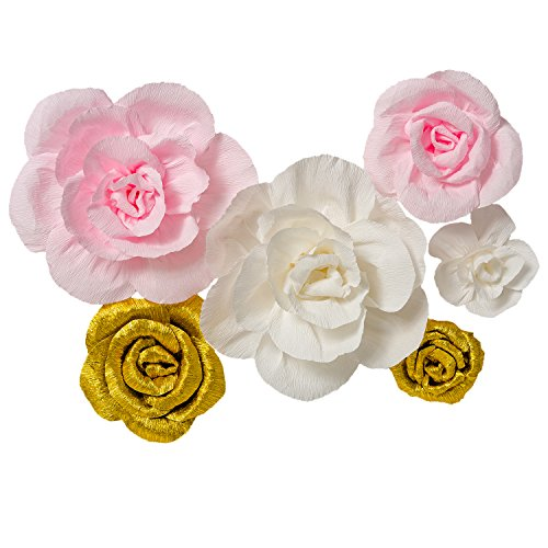 Paper Flower Decorations for Wall, ( Gold,Pink,White, 6Pcs) Large Handcrafted Crepe Paper Flowers Wall Decor for Birthday Wedding Backdrop Baby Nursery Wall Decor Baby Showers Bridal Shower