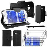 ebestStar - kompatibel mit Samsung Galaxy Ace 4 Hülle SM-G357FZ Wallet Hülle Handyhülle[PU Leder], Kartenfächern, Standfunktion +Stift +3 Schutzfolies, Schwarz [Phone:121.4x62.9x10.8mm 4.0