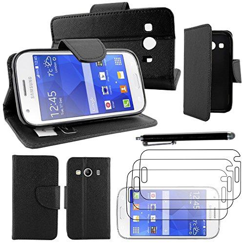 ebestStar - Coque Compatible avec Samsung Ace 4 Galaxy SM-G357FZ Etui PU Cuir Housse Portefeuille Porte-Cartes Support Stand + Stylet + 3 Films d'écran, Noir [Appareil: 121.4 x 62.9 x 10.8mm, 4.0'']