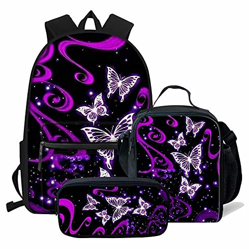 NETILGEN Zaino Scuola Satchel 3 Set Grande Cool per Bambini Ragazzi Ragazzi Ragazzi Viaggio Personalizzato Casual Daypack + Astuccio + Sacchetto Pranzo, farfalla viola, onesize, Valigia per bambini