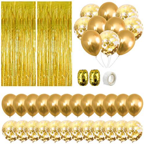Decoraciones Fiesta de Cumpleaños Oro, 24 Globos Látex Fiesta de Confeti, 3ft x 8ft Cortina Papel de Aluminio Flecos con Cintas Metaílicas, Pegamento Globos para Niñas,Bodas,Aniversarios,Baby Shower