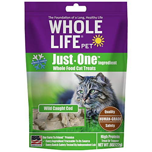 Whole Life Pet USA Sourced and Produced Human Grade Freeze Dried Boneless, Skinless Wild Cod Filet Cat Treat, Protein Rich for Training, Picky Eaters, Digestion, Weight Control, .8 Ounce