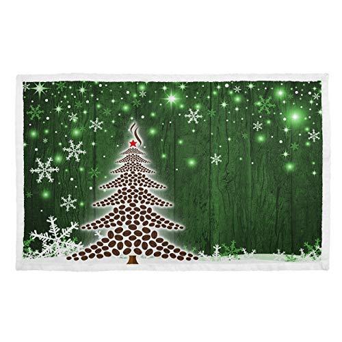 UMIRIKO Manta para mascotas con diseño de árbol de Navidad, copo de nieve, color verde, suave, para perro, gato, cachorro, colchoneta para sofá cama, lavable 2020199
