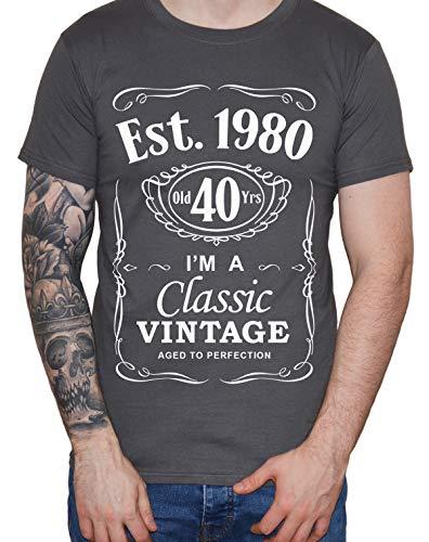 DF 40th Birthday Est. 1980 Vintage Year Homme T-Shirt Gris foncé L