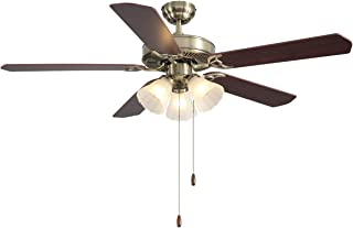 VISDANFO 52-inch Indoor Ceiling Fan,Pull Switch Control,Motor Can be reversed,Wood Ceiling Fan Blade Match Green Bronze Cover,3E12 Ceramic lamp,for Dining Room Bedroom Living Room Kitchen.