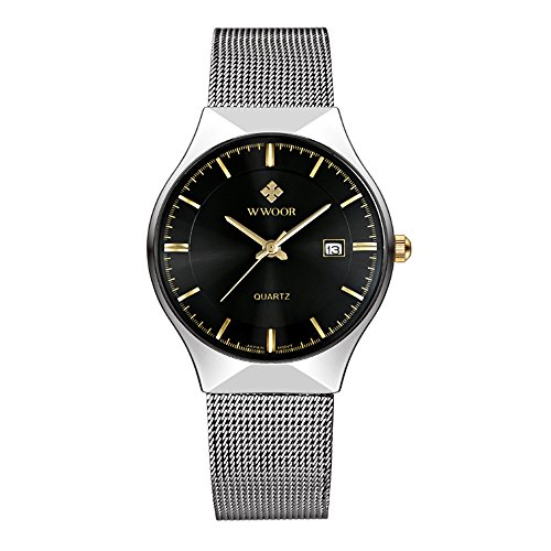 WWOOR Elite Sport Herren-Armbanduhr mit Edelstahl-Netzband, silberfarben, ultradünn, Analog, Quarz-Uhr mit automatischem Datum, Schwarz