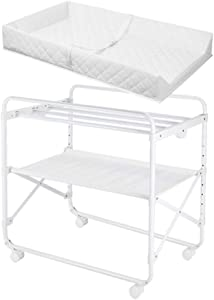 LNDDP Changing Table Baby Station  Adjustable Portable Changer Baby Storage Dresser  with Wheels