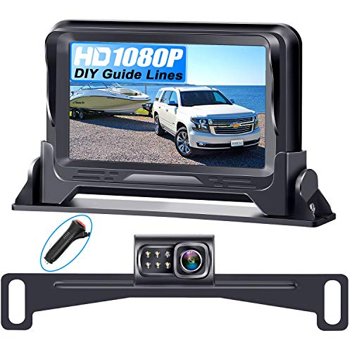 Rohent R1 HD 1080P Backup Camera and Monitor Kit 2021 Version Two Channels License Plate Hitch Camera for Cars Trucks SUVs Driving Front/Rear View High-Speed Observation System Super Night Vision
