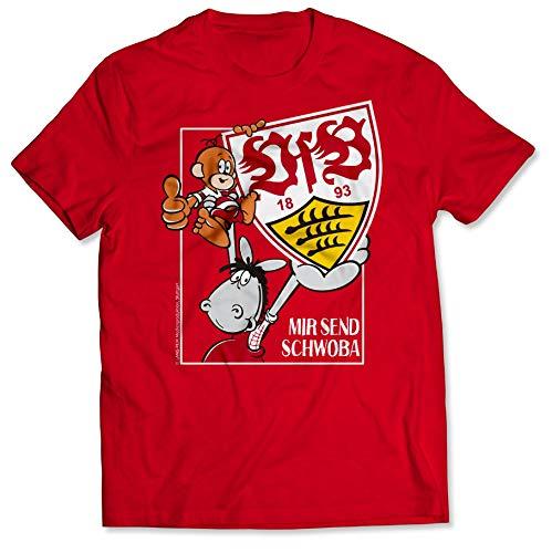 VfB Stuttgart T-Shirt rot mit großem Wappen & Äffle und Pferdle Druck auf Brust Mir Send Schwoba in verschiedenen Größen 100% Baumwolle (S - 3XL) Geschenkidee (S)