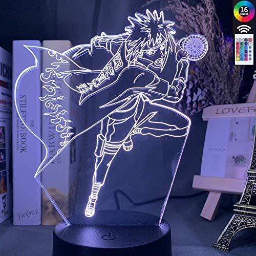 Lámpara de ilusión 3D Luz de noche LED Naruto Minato Namikaze Atmósfera en forma para niños Decoración de habitación de niños Lámpara de mesita de noche que cambia de color