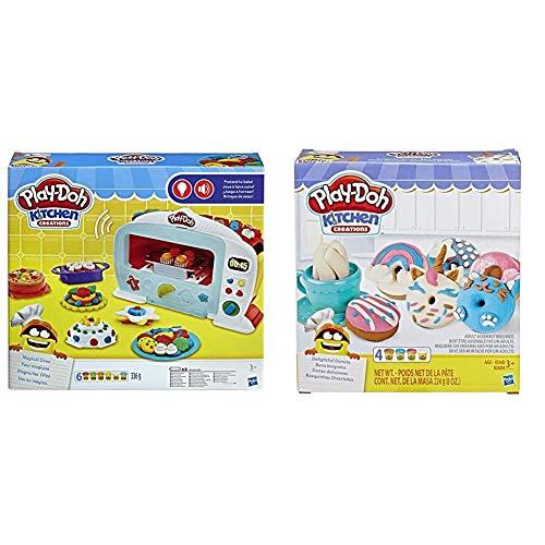 Play-Doh Hasbro B9740EU4 - Magischer Ofen Knete, für fantasievolles und kreatives Spielen & Kitchen Creations Bunte Donuts Set mit 4 Farben Knete, für fantasievolles und kreatives Spielen