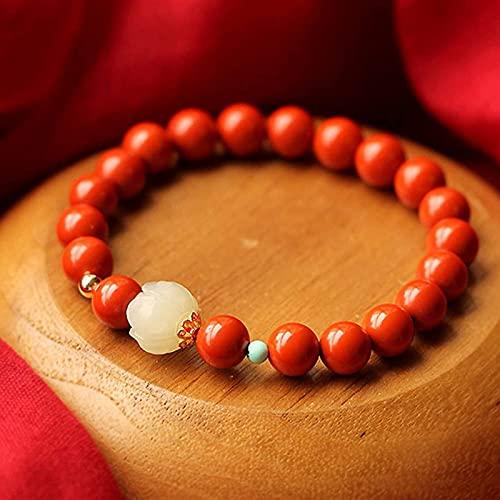 KEEBON Accesorios de Loto de Jade Hetian Natural Cinnabar Feng Shui Pulsera Estilo Retro trae Riqueza afortunada a Mujeres Regalos Conmemoración