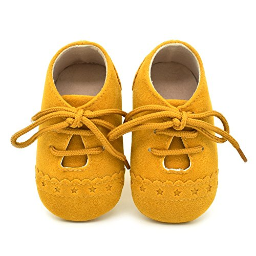 Mejale Baby Infant Toddler Shoes Slip-on Soft Sole Leather Moccasins Pre-Walkers (6-12 Months/US 3-4C Infant, Yellow)