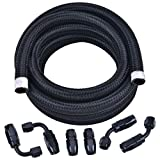 EVIL ENERGY 6AN 3/8' Fuel line Hose Fitting Kit Braided Nylon Stainless Steel Oil Gas CPE 10FT Black