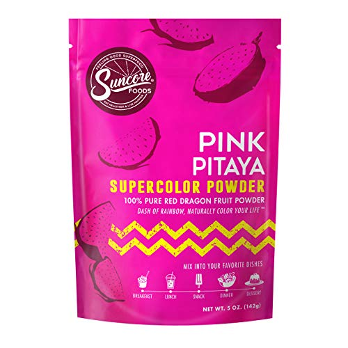 Suncore Foods – Premium Pink Pitaya Supercolor Powder, 5oz each (1 Pack) – Natural Red Dragon Fruit Food Coloring Powder, Plant Based, Vegan, Gluten Free, Non-GMO