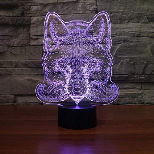 Forma De Lobo 7 Colores Flash Rgb 3D Luz Nocturna Lámpara De Mesa Usb Interruptor Táctil Iluminación Para Dormir De Bebé Para Regalos De Juguete De Cumpleaños Para Niño