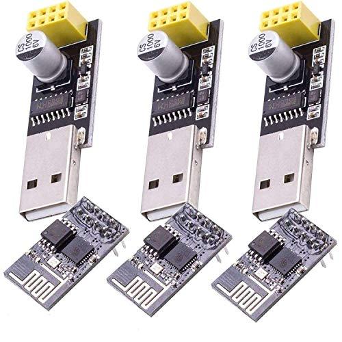 AZDelivery 3 x ESP8266 ESP-01 mit USB-Adapter Wlan WiFi Modul für Arduino mit gratis eBook!