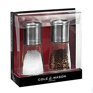 COLE & MASON Clifton Top Grinding Salt and Pepper Grinder Gift Set - Mills Include Precision Mechanisms and Premium Sea Salt and Peppercorns, Stainless Steel and Glass
