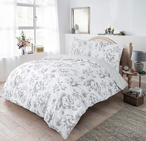 Sleepdown Juego de Funda de edredón de 135 x 200 cm con diseño Floral, Color Gris