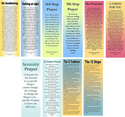 AA/ 12 Step Program Bookmarks- Sobriety Gifts - 10 Double-Sided Bookmarks