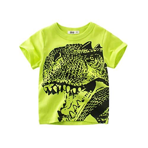 Unisexe Petits Enfants T-Shirts à Manches Courtes Cartoon Animal Imprimé Dinosaure/Requin/Voiture Été Casual Chemisier (4-5 Ans, A- Vert)