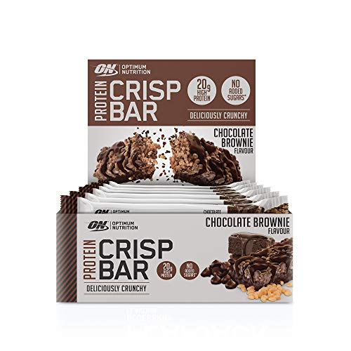 Optimum Nutrition Crisp Protein Bar, Barre Proteine Croustillante Avec Whey Protéine, Sans Sucre Ajouté, Riche en Proteine, Faible en Glucide, Chocolat Brownie, Boîte de 10 (10 x 65 g)