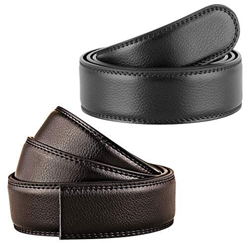 KESYOO 2Pcs Hombres Cinturón de Cuero Cinturones de Cuero sin Cabeza Cinturón de Cuero Genuino de Negocios Ajustable para Hombres Vestido Casual