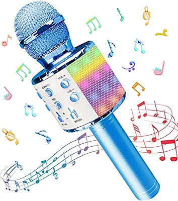 Wireless Microphone, 5 in 1 Karaoke Bluetooth Microphone, Dancing LED Lights Portable Speaker Karaoke Machine, Home KTV Player Compatible with Android & iOS Devices for Party/Kids Singing