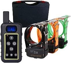 Trainertech DT2200 version 2500 metros, para 1, 2 o 3 perros a la vez 100% Sumergible - Collar Educativo y collar luminoso, 5 modos - Diseño ergonómico y profesional (C - Kit con 3 collares)