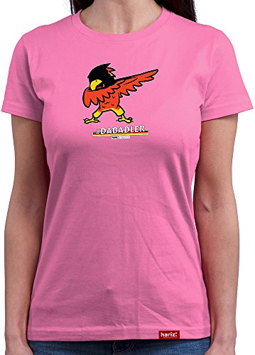 HARIZ Damen T-Shirt Rundhals Pixbros Dabadler Deutschland Funshirt Trikot 2018 Fussball Fahne EM WM Männer Geschenk Gratis Bang Sticks Orchid Pink XXL
