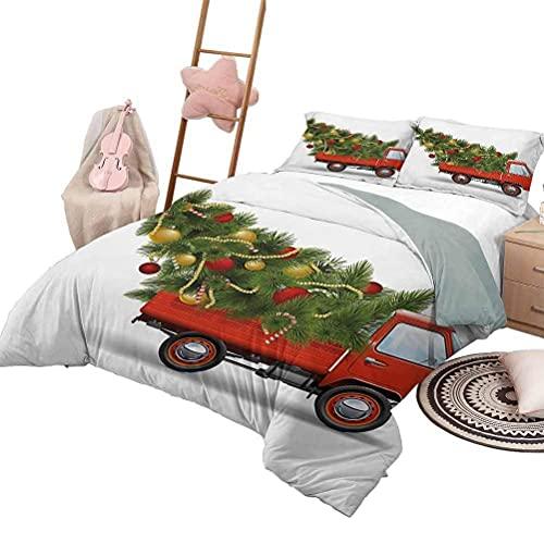 Juego de edredón para sofá cama Colcha de Navidad para todas las estaciones Estilo retro Calcetines famosos para campanas de juguete y caramelo y diseño gráfico de copo de nieve Tamaño complet
