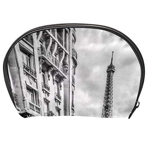 Neceser de Maquillaje Estuche Escolar para Cosméticos Bolsa de Aseo Grande París Coche Rojo Torre Eiffel