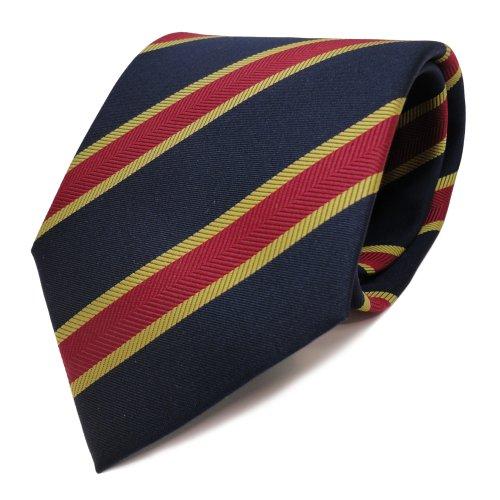 TigerTie Elegante Krawatte blau royal dunkelblau rot gold gestreift - Schlips Binder Tie