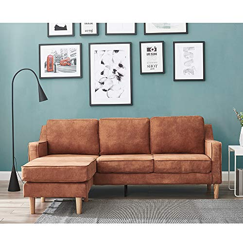 3 Seater Corner Sofas with Footstool L Shaped Sofa Settee Leathaire Fabric Sofa Couch Chaise for Living Room Office Lounge (Brown)