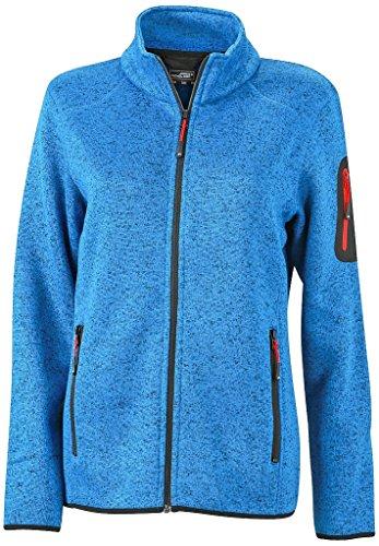 James & Nicholson Damen Modische Strickfleece Jacke mit Stehkragen (M, royal-melange/red)