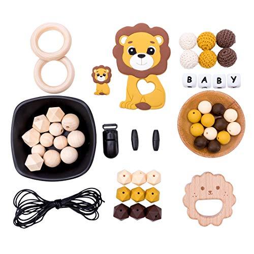 let's make Baby Kinderkrankheiten Anhänger Spielzeug Silikon Achteckige Perlen Schnuller Clips DIY Perlen Set für Schmuck Machen Beißring Kit Lion King Serie