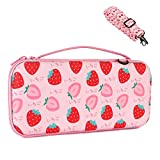 Niclogi Carry Case for Nintendo Switch, Hard Shell Protective Cover Travel Carrying Bag with 12 Game Card Slots, Inner Storage Bag for Switch Console Controller & Game Accessories, Strawberry Pattern