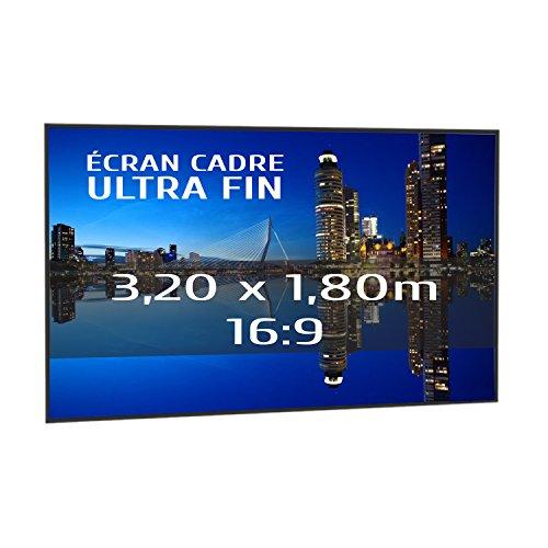 KIMEX 044-6018 Pantalla de proyección fija con marco ultrafino 320 x 180 cm, formato 16/9
