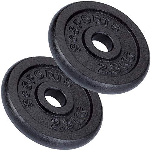 ScSPORTS 5 kg Hantelscheiben-Set 2 x 2,5 kg Gusseisen Gewichte mit 30/31 mm Bohrung, durch Intertek geprüft + bestanden¹