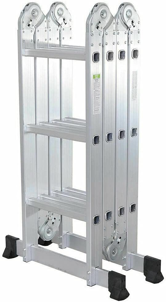 DXXWANG Max 40% OFF Portable 12.5ft Folding Genuine Ladder Aluminum Ex Purpose Multi