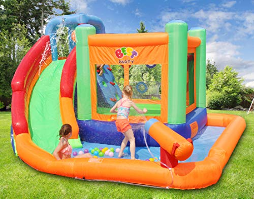 BESTPARTY Inflatable Kids Water Slide Spin Combo Jumper Bounce House , Pool Water Slide for Toddler, Bouncy Splash Park for Outdoor Fun with Blower
