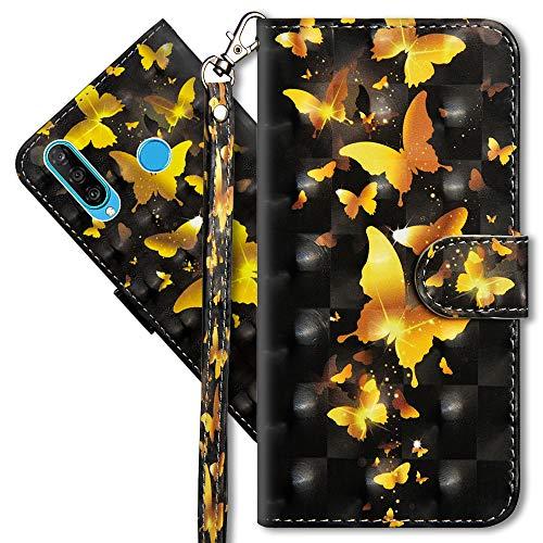 MRSTER Huawei P30 Lite Handytasche, Leder Schutzhülle Brieftasche Hülle Flip Case 3D Muster Cover mit Kartenfach Magnet Tasche Handyhüllen für Huawei P30 Lite. YX 3D - Golden Butterfly