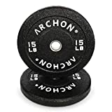 ARCHON Fitness HTR Spec 15LB Bumper Plates | Olympic Plate | Strength Training | Weightlifting | Weight Plates | Olympic Barbell | Weight Set | Barbell Weight Set | Strength Training Plates | Fitness