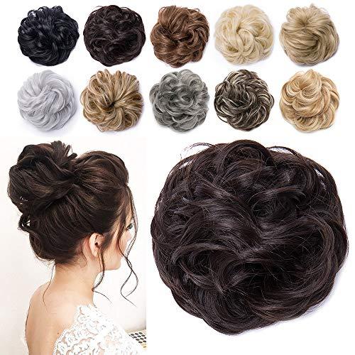 TESS Haarteil Dutt Mittelbraun Haargummi mit Haaren Gewellt Dicke Haarknoten Hochsteckfrisuren günstig Haarverlängerung Extensions für Frauen 40g