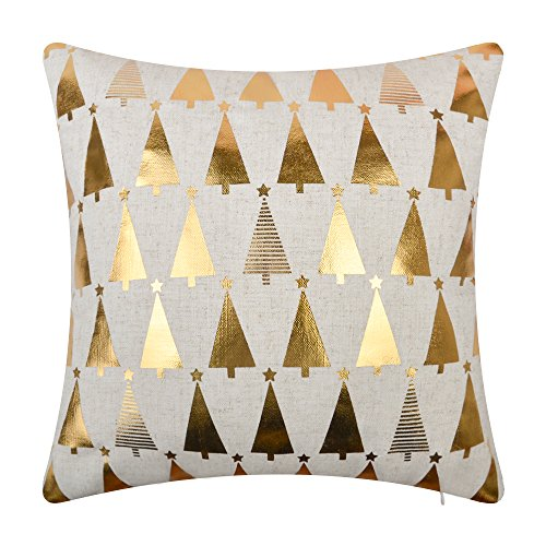 JWH Christmas Trees Star Accent Pillow Case Decorative Cushion Cover Linen Pillowcase Home Bed Living Room Chair Couch Decor Sham 16 x 16 Inch Gold Foil