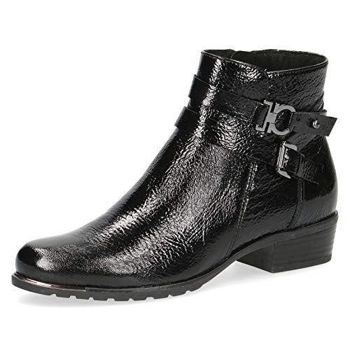 CAPRICE Damen Stiefel, Frauen Ankle Boots,lose Einlage, Lady Ladies feminin elegant Women's Women Woman Freizeit leger,Black Naplak,38.5 EU / 5.5 UK