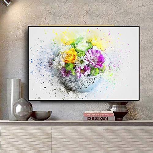 DERFV Acuarela Abstracta Flores Plantas Verdes Lienzo Pintura Cartel Impresiones Estilo escandinavo Pintura Decorativa